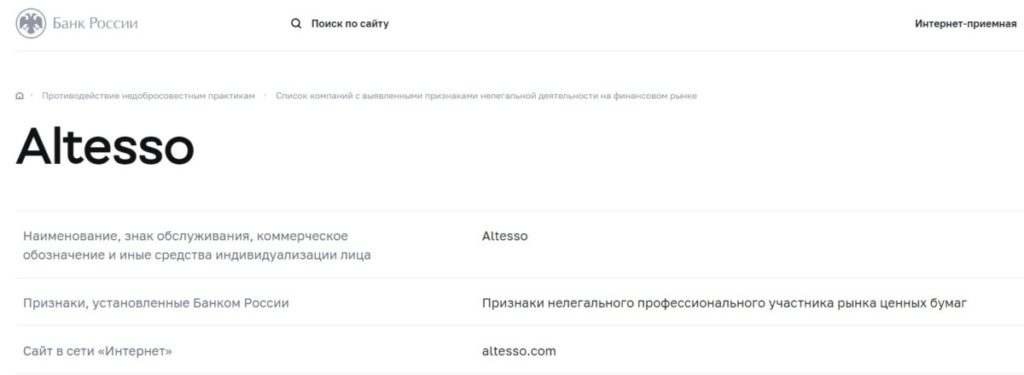 ALTESSO как вернуть деньги с брокера altesso.com?